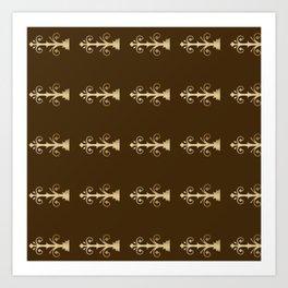 Door hinges pattern brown and gold Art Print