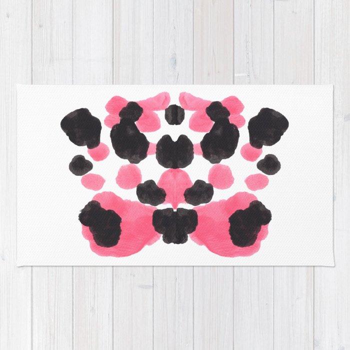 Pink & Black Ink Blot Colorful Pattern Rug