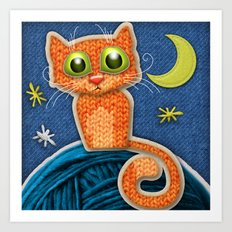 Fabric Cat Art Print
