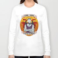 marx Long Sleeve T-shirts featuring Karl Marx Hipster by Ferguccio