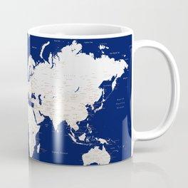 "Navy blue and light brown detailed world map ""Gavin"" Coffee Mug"