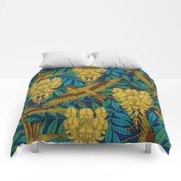 Vintage Art Deco Birds and Leaves  Comforters