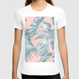 Tropical Leaves Ocean Blue on Coral Pink T-shirt