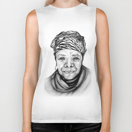Maya Angelou - BW Original Sketch Biker Tank