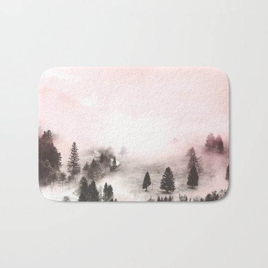 Black and white forest Bath Mat