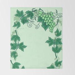 Abstract grapevine with frame from leaves Throw Blanket