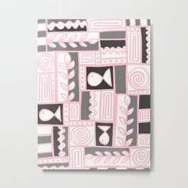Fishes Seaweeds and Shells - Gray and Pink Metal Print