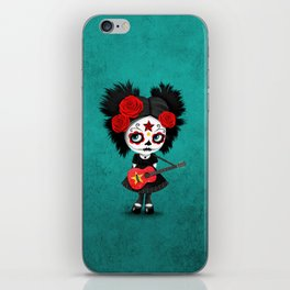 Day of the Dead Girl Playing Vietnamese Flag Guitar iPhone Skin