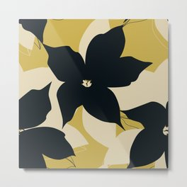 Leafy Floral, Black and Mustard Yellow Metal Print