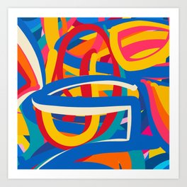 Abstract Graphic Colorful Lines Pop Art Graffiti  Art Print