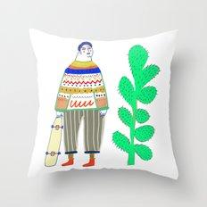 man and cactus. Throw Pillow
