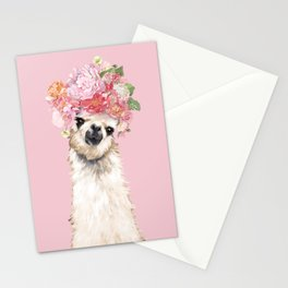 Llama with Flower Crown Stationery Cards