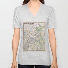 Vintage Map of Los Angeles CA (1884) Unisex V-Neck