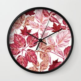 Autumn vector pattern with realistic leaves in pink red colors Wall Clock