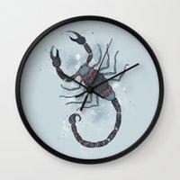 scorpio Wall Clocks featuring Scorpio by Vibeke Koehler