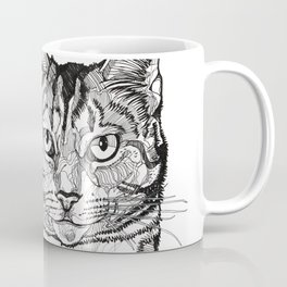 Cat line drawing portrait black and white illustration Coffee Mug