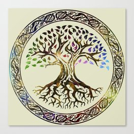 Tree of life  -Yggdrasil - Gold & Green  foil Canvas Print