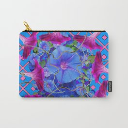Purple & Pink Morning Glories Blue Pattern Art Carry-All Pouch
