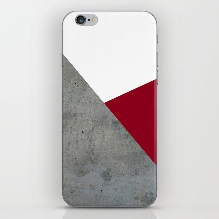 Concrete Burgundy Red White iPhone Skin