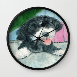 Sammy the Parti-poodle Pup Wall Clock