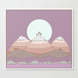 Moon over the Mountians Canvas Print
