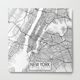 New York City Map of United States Metal Print