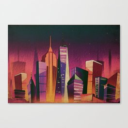 Midnight in New York Kitschy Watercolor in Mid Century Style Canvas Print