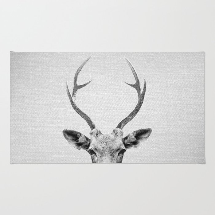 Deer - Black & White Rug