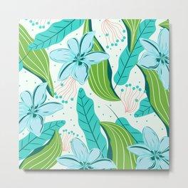light blue flowers  Metal Print