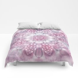 Dreams Mandala in Pink, Grey, Purple and White Comforters