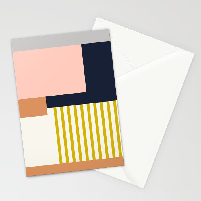 Sol Abstract Geometric Print in Multi Stationery Cards