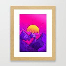 Pink sky mountains Framed Art Print