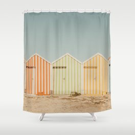 Summer Beach Huts Shower Curtain