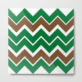 Big Chevron:  Kelly Green + Chocolate Brown Metal Print