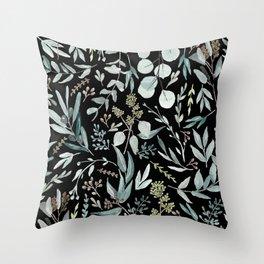 Black Eucalyptus Pattern Throw Pillow