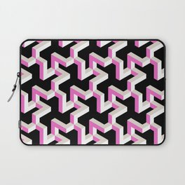 Pink and White Pattern with Fractal Art Laptop Sleeve