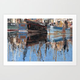 Reflections of Porthleven Harbour  Art Print