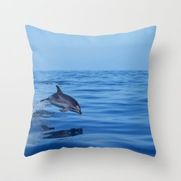 Spotted dolphin jumping in the Atlantic ocean Throw Pillow