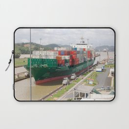 A cargo ship crossing the Miraflores locks at the Panama Canal Laptop Sleeve