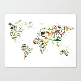 Cartoon animal world map for children and kids, Animals from all over the world on white background Canvas Print