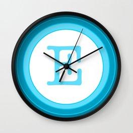 Blue letter E Wall Clock