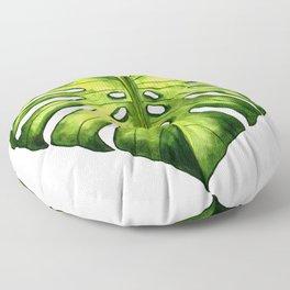 Monstera leaf in watercolor Floor Pillow
