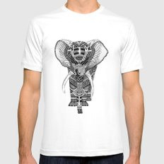 PETITE ELEPHANT. MEDIUM White Mens Fitted Tee