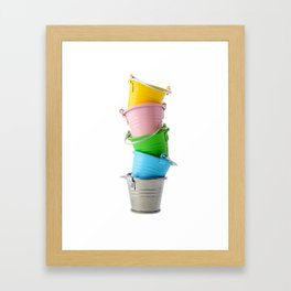 Colorful buckets, stacked vertically Framed Art Print