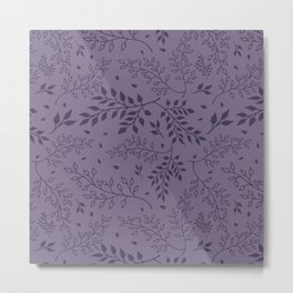 Leaves Illustrated Rum Purple Metal Print