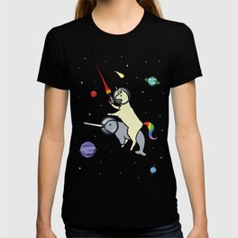 Llamacorn Riding Narwhal In Space T-shirt