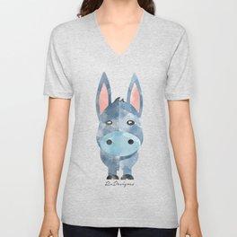 Water Colour Baby Donkey Unisex V-Neck