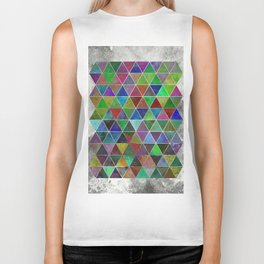 Textured Triangles - Abstract, textured, geometric, painting Biker Tank