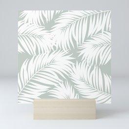 Palm Tree Fronds White on Rainwashed Maui Hawaii Tropical Graphic Design Mini Art Print