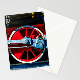 Red Wheels And Driving Rods Of A Vintage Steam Locomotive Stationery Cards